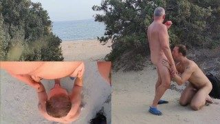 Old manSuck Fun and Cum on Public Beach – Amateur Older Younger